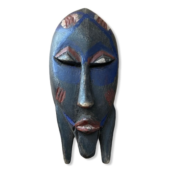 African Mask Small Wall Art Hand Carved Wood Blue